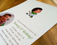 Flat card, printed on 130 lb recycled card stock. Available here:  www.etsy.com/listing/76601193/little-rider-childrens-part...    www.etsy.com/shop/fushan159     Plan  the perfect party invitation for their child's party?