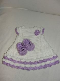 "American Girl 18"" Hand Crocheted Dress and Mary Jane Shoes Lavender and White 