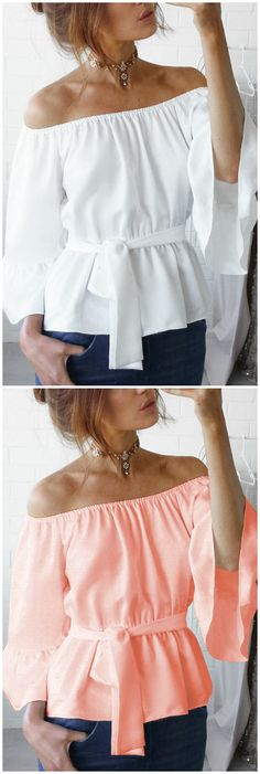 White Chiffon Off-The-Shoulder Top with Waist Tie
