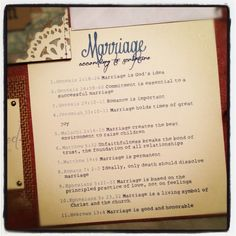 Marriage according to Scripture... this is going to be included in my wedding