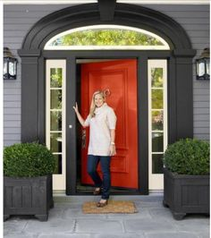Front Door Paint Colors - Want a quick makeover? Paint your front door a different color. Here a pretty front door color ideas to improve your home's curb appeal and add more style! Orange Front Doors, Orange Door, Front Door Colors, Green Doors, Purple Door, Yellow Doors, Black Doors, Purple Grey, Exterior Paint Colors For House