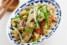 Make the most of left-over cooked rice and a barbecued chook with this tasty fried rice idea. Says to use with regular basil (?) but will try with thai basil, for a thai style fried rice. Rice Recipes, Asian Recipes, Chicken Recipes, Dinner Recipes, Healthy Recipes, Ethnic Recipes, Recipies, Savoury Recipes, Easy Recipes