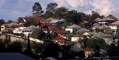 Traditional Queenslander homes in the Brisbane suburb of Paddington