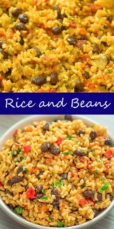 rice recipes This is THE ONLY Rice and Beans recipe youll ever need! Made with simple ingredients, this dish is filling and very tasty. Tasty Vegetarian Recipes, Vegetarian Recipes Dinner, Vegan Dinners, Veggie Recipes, Mexican Food Recipes, Cooking Recipes, Healthy Recipes, Vegan Vegetarian, Vegan Bean Recipes