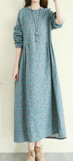 27d9f44764 Women o neck Button Down cotton dress top quality Sleeve blue floral Maxi  Dresses. Linen DressesMaxi DressesCotton DressesDress OutfitsLong Fall ...