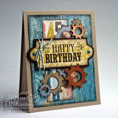 Greeting Card  Happy Birthday Steampunk Gears Handmade by JanTink, $5.95