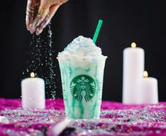 Starbucks will be offering the new Crystal Ball Frappuccino blended beverage. The Crystal Ball Frappuccino is creme-based and infused with peach flavor, turquoise sparkles and topped with peach-flavored whipped cream. Starbucks Drinks Without Coffee, Starbucks Secret Menu Drinks, Coffee Drinks, Starbucks Coffee, Starbucks Specials, Fast Food Reviews, Fast Casual Restaurant, Frappuccino Recipe, Coffee Menu