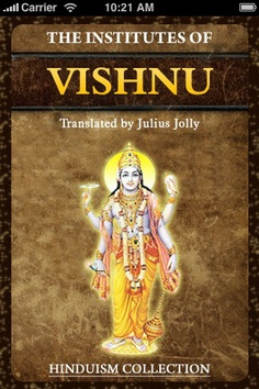 Book Description - Publication Date: September 17, 2010 - The Institutes Of Vishnu - Translated by Julius Jolly.    This Hindu law book contains descriptions of yogic practises, and a moving hymn to the Goddess Prajapati. Order here: http://www.amazon.com/The-Institutes-Of-Vishnu-ebook/dp/B0043GX2SE/ref=sr_1_1?s=books=UTF8=1331681067=1-1