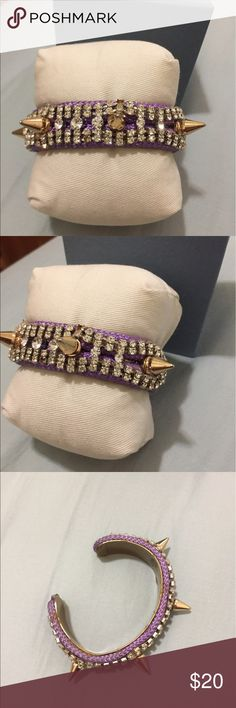 Spike and stud cuff, purple, gold and crystal Spike and stud cuff, purple, gold and crystal Jewelry Bracelets