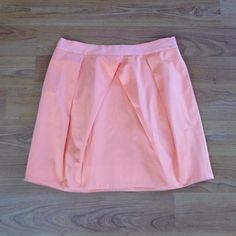 J.Crew Sateen Cotton Mini in Bright Coral Origami pleated mini, fully lined with pockets and grosgrain trimmed waist. Small spot on waist (pictured). J. Crew Skirts Mini