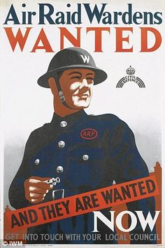 British Air Raid Warden poster probably in the Primary History, Ww2 Propaganda Posters, Political Posters, Political Cartoons, The Blitz, Air Raid, World War Two, Vintage Advertisements, Wwii