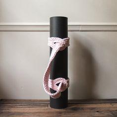 *** Yoga mat strap/mat sling/yoga mat carrier/in Pink Pale Ice/vegan cotton/OOAK color/ready to ship Crochet Fabric, Fabric Yarn, Crochet Patterns, Crochet Ideas, Yoga Bag Pattern, Yoga Mat Bag, Yoga Mats, Knit Basket, Crochet Cross