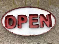 OPEN Big Oval Sign- Made with Reclaimed Metal- Painted Red and White #BayCityCargo #RusticMetalSgin Sign Letters, New Sign, Decorating Your Home, Red And White, Signs, Retro, Painting, Ebay, Novelty Signs