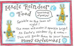 Reindeer Fun and FREE Printable Magic Reindeer Food Tag! - Happy Home Fairy reindeer food printable - GREAT idea for getting kids excited for Santa's arrival. Reindeer Food Label, Reindeer Dust, Magic Reindeer Food, Reindeer Craft, Santa And Reindeer, Christmas Activities, Kids Christmas, Christmas Crafts, Christmas Things
