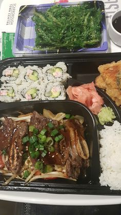 Bento Box at Scarborough Town Centre. spare ribs, sushi, steamed rice, vegetable tempura, seaweed salad