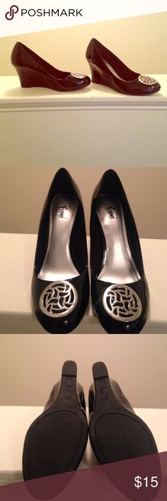 Black wide width Wedges Black with silver design on top worn only once 8.5 wide with box fioni Shoes Wedges