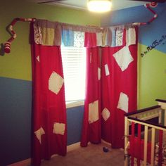 Dr suess room. Patch curtains..