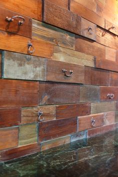 wall texture from old drawer-fronts is a unique solution that may be DIYed
