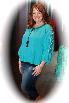 Teal Tassle top - $34 To order:  call 317-889-1150 or email jen@jendaisy.com