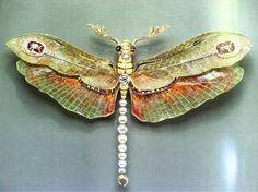 "Philippe Wolfers (1858-1929) Belgian  ""Dragonfly"" pendant-brooch  1904  Platinum, gold, enamel, diamond, ruby and pearl"