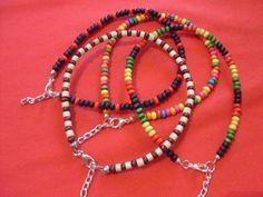 wooden bead anklets colours funky boho festival made to order men/women