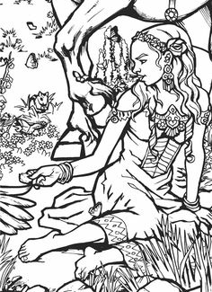 Welcome to Dover Publications Build a Poster Coloring Book -- Fairy Princess Colouring Pics, Disney Coloring Pages, Coloring Book Pages, Coloring Sheets, Fairy Coloring, Colorful Drawings, Colorful Pictures, Art Drawings, Illustrations