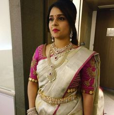 Looking for half hand blouse designs to try with your party wear sarees? Here are 15 chic blouse models that can make your silk and designer sarees pretty! White Saree Blouse, Pattu Saree Blouse Designs, Bridal Blouse Designs, Blouse Back Neck Designs, Hand Work Blouse Design, Patch Work Blouse Designs, Shirt Designs, Sari Bluse, Maggam Work Designs