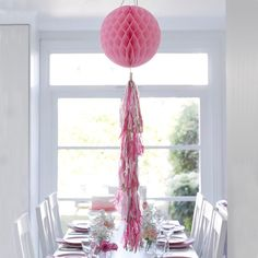 Pink Honeycomb Tassel Decoration by Talking Tables – The Original Party Bag Company Pink Party Decorations, Honeycomb Decorations, Table Decorations, Afternoon Tea At Home, Rose Bonbon, Day Of The Dead Party, Pastel Party, Diy Tops, Gold Party