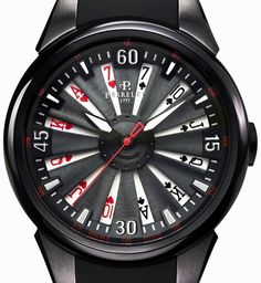 Perrelet Turbine Poker Black Titanium Dial Automatic Men's Watch - Perrelet - Shop Watches by Brand - Jomashop Dream Watches, Fine Watches, Luxury Watches, Amazing Watches, Cool Watches, Watches For Men, Unique Watches, Wrist Watches, James Bond