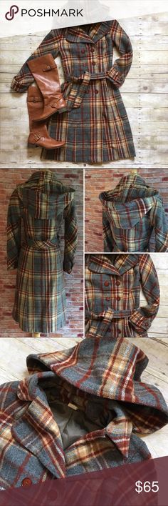 """HPVintage plaid wool coat with hood Beautiful plaid coat. Double breasted buttons. Tie waist. Removable plaid hood. This is the perfect winter topper! 41""""L. 17"""" bust, 16"""" waist, 16"""" shoulders all laying flat. 24"""" sleeves. In good preloved condition. Tag says 6, this is a vintage 6 and runs small. Listing as a 4. Please refer to measurements. * boots are also for sale in my closet, buy the look and save 20%! Vintage Jackets & Coats"""