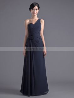 One Shoulder Strap Chiffon Floor Length Dress with Side Draping and Flower