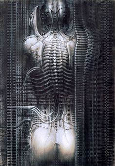 "Giger: Surrealist Artist and ""Alien"" DesignerH. Giger, actually less known for his full name, Hans Ruedi Giger, is a Swiss artist who created highly influential artwork in the style of. Hr Giger Art, Hr Giger Alien, Biomech Tattoo, Art Alien, Illusion Kunst, Art Visionnaire, Art Noir, Psy Art, Arte Obscura"