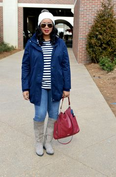 Trina from Baby Shopaholic (@babyshopaholic) looks fabulous in her Pure Jill anorak layered over a striped shirt.