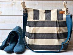 Waterproof Black BEST SELLER Diaper bag/Messenger bag STOCKHOLM  nautical stripe bag 10 Pockets - denim taurillon blue strap by ikabags on Etsy https://www.etsy.com/listing/129433540/waterproof-black-best-seller-diaper
