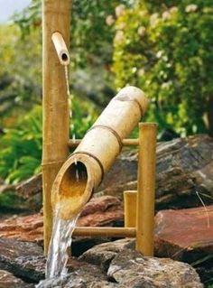 Home Ideas Exterior Fountain Design Ideas Garden Design Ideas Awesome Rustic Bamboo With Rock And Nice Flower Behind For Japanese Water Fountain Design Ideas Marvelous Rustic Bamboo Fountain With Nice Water Flow Awesome