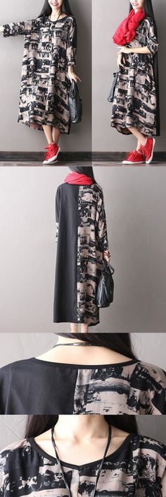 BUYKUD-Women casual loose cotton autumn dress with abstract pattern. buykud dresses