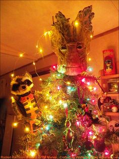 Rocket and Groot celebrate Christmas