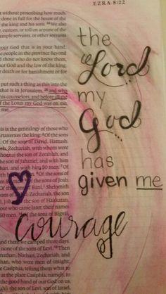 Ezra Take Courage Bible 2, Bible Verse Art, Journal Pages, Journal Art, Bible Journal, Beautiful Word Bible, Esther Bible, Bible Illustrations, Illustrated Faith