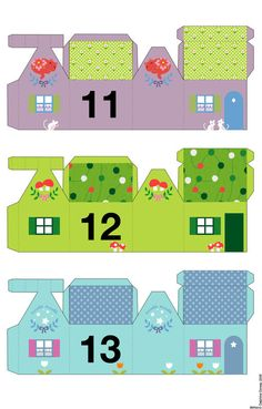 Advent calendar 13 -- little houses Christmas Paper, Christmas Holidays, Christmas Crafts, Xmas, Christmas Tables, Nordic Christmas, Modern Christmas, Countdown Calendar, Kids Calendar