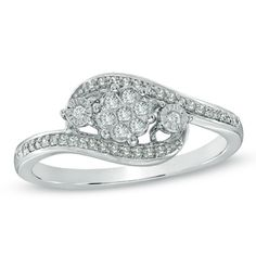 Three Stone Promise Ring in 10K White Gold