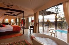 Elephant Camp, suite interior, 2012 Safari Awards finalist, Best New Safari Camp in Africa Chutes Victoria, Cool Places To Visit, Places To Go, Les Seychelles, Elephant Camp, Chobe National Park, Luxury Tents, Luxury Glamping, Viewing Wildlife