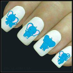 Items similar to Animal Nail Decal Elephant Nail Art 20 Water Slide Decals Fingernail Decals Nail Tattoos Nail Transfers on Etsy Cat Nail Art, Animal Nail Art, Cat Nails, Pedicure Designs, Toe Nail Designs, Elephant Nail Art, Breast Cancer Nails, Animal Nail Designs, Girls Nails