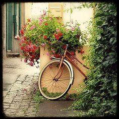 La Bicyclette aux Geraniums    8x8 Fine Art by MarcoLaGrenouille