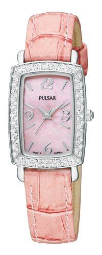 Pulsar Women's PTC499 Crystal Case Pink Leather Strap Pink Mother-of-Pear Dial Watch Pulsar. $51.13. Water-resistant to 99 feet (30 M). Crystallized by Swarovski - 76 crystals. Pink leather strap. Hardlex crystal. Pink mother-of-pearl dial. Save 62% Off!