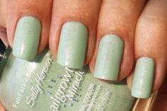 sally hansen gentle blossom mint seafoam shimmer green nail polish manicure