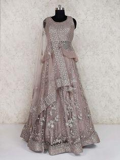 Shop Net wedding grey lehenga choli online from India. Lehenga Top, Lehenga Choli Latest, Raw Silk Lehenga, Bollywood Lehenga, Lehenga Choli Online, Ghagra Choli, Cape Lehenga, Net Lehenga, Saree Blouse Neck Designs