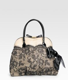 Nuage Lace & Straw Top Handle Bag