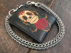 a3291ff2c45845 Hand Stained Bifold Leather Chain Wallet - Skull And Rose