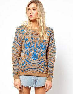 Imagen 1 de Suéter de punto estructurado con tigre de ASOS