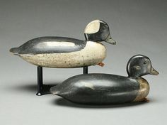 Rare and early pair of buffleheads, John English, Florence, New Jersey, last quarter 19th century.